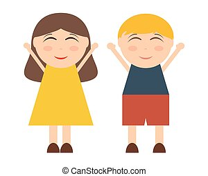 Cartoon boy and girl