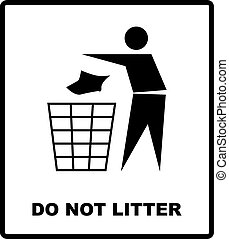 no littering sign vector illustration do not litter prohibition sticker for public places in red circle, vector illustration