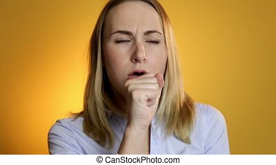 Coughing, Sick Woman Suffering From Cough, on a yellow...