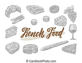 Engraved French Food Elements Set - Engraved french food...
