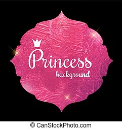 Gold Paint Glittering Textured Princess Crown Frame Vector Illustration