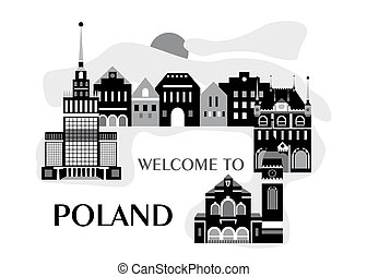 welcome to poland black - illustration in style of flat...