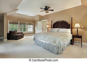 Master bedroom in luxury home