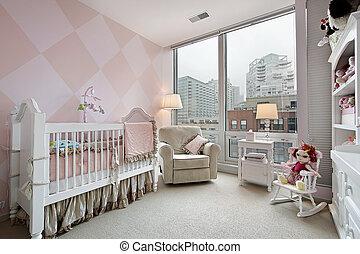 ciudad, bebé, habitación, vista