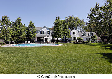 Back yard with swimming pool - Back yard of large white home...