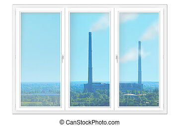 window isolated with view to the nature and pollution of environment.