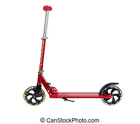 Red metal scooter isolated on white background
