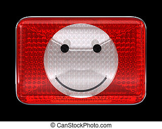 Smiley emoticon red button or headlight