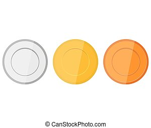 Collection of medals for the champions on white background...