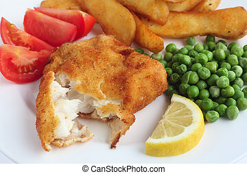 Breaded fish fillet meal