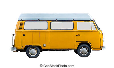 Vintage Camper Van - Isolated Grungy 70s Style Retro Vintage...