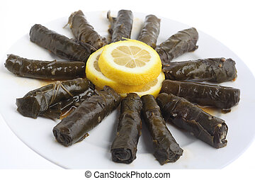 Stuffed vine leaves on a plate - Stuffed vine leaves, or...
