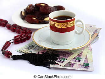 Arab business concept - Coffee, Arabian high-value bank...