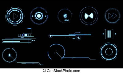 Blue Futuristic Interface Elements. - Three screens...