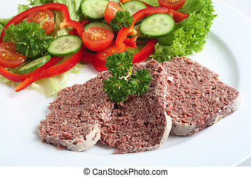 Corned beef with salad