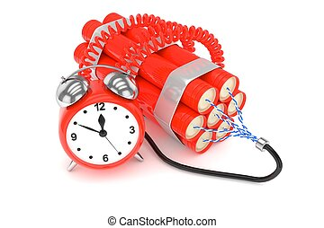 Alarm clock with dynamite. 3D rendering. - Alarm clock with...