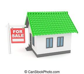 House real estate for rent. 3D rendering. - Miniature model...