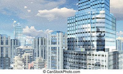 Modern high rise building at snowfall - Abstract modern high...
