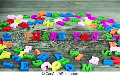words thank you  with letters