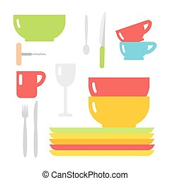 Clean cups and dishware vector illustration. - Tableware cup...