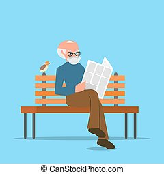 Grandfather sitting on a bench reading  newspaper or news. Cartoon character isolated  white background. Vector, illustration EPS10.