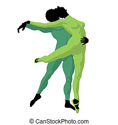 African American Ballet Couple Illustration Silhouette