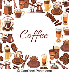 Candy sticks and cup of coffee on dessert poster - Cup of...