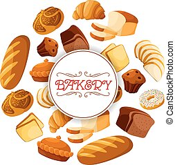 Loaf of brick rye bread and bakery food banner - Bakery food...