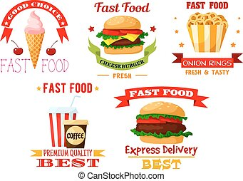 Icons set of greasy and unhealthy fast food - Fast or...