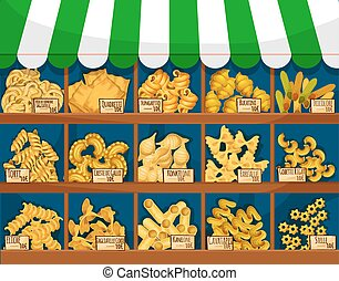 Market counter with italian macaroni or pasta - Pasta or...