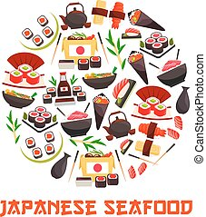 Banner with sushi rolls, japanese cuisine - Japan sea and...