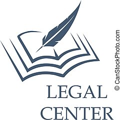 Feather writing on book as legal center sign - Legal center...