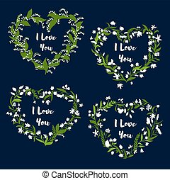 Heart with flowers for Valentine Day card design