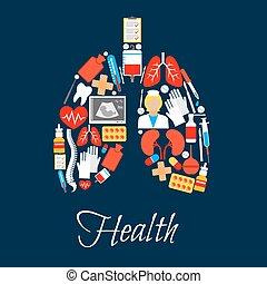 feito, pulmões, ícones, médico, medicina, ou