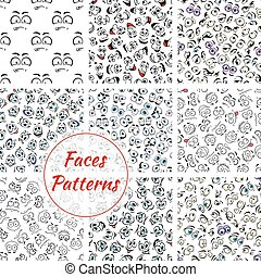 Cartoon faces seamless pattern background - Set of cartoon...