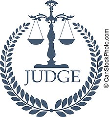 Justitia weigher or scales and laurel wreath