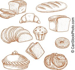 Pastry or bakery food and bread sketch - Sketch for baked...