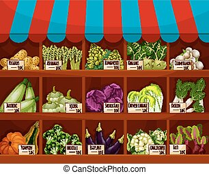 Food market store with vegetable showcase. Shop with potato...