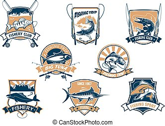 Sea and river fish and rods isolated icons - Sport fish...