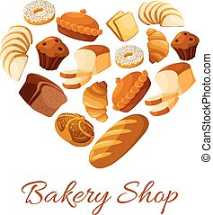 Bakery and pastry, bread and donut formed as heart - Bread...