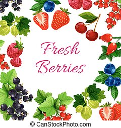 Twigs with berry or fruit food poster - Berry with leaf...