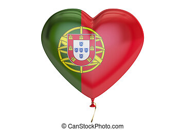 balloon with Portugal flag in the shape of heart, 3D rendering