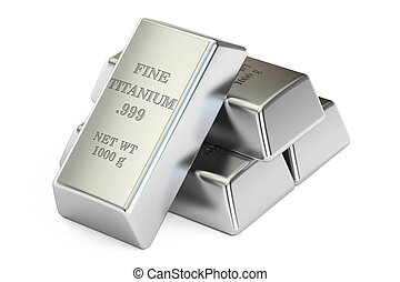 set of titanium ingots closeup, 3D rendering - set of...