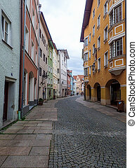 Traditional Street in German Town of Fussen - Colorful...