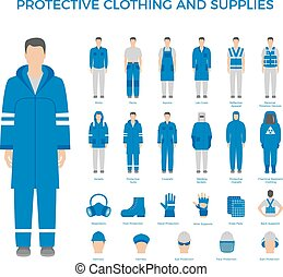 Protective clothes and equipment icons set for industry of...
