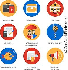 Set of icons for legal services company - Vector icons of...