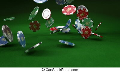 Casino chip/tokens Falling down.