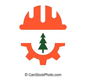 Wood cutting concept design. Helmet, Gear and tree icons. AI...