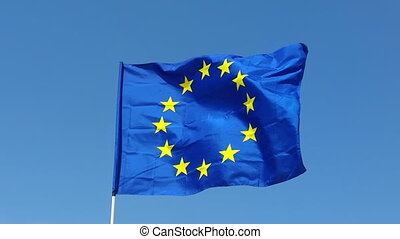Flag of European Union flapping in the wind