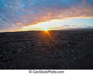 Sunset Over Lava Field near Pahoa on the Big Island of Hawaii